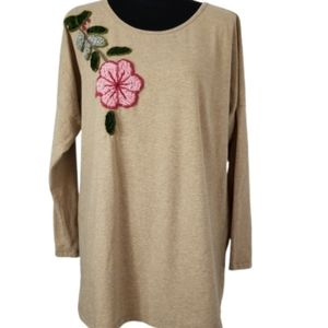Soft Surroundings large tan embroidered top